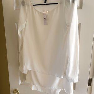 White House Black Market blouse white chiffon Sm.0